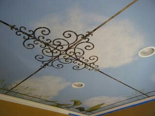 Ceiling Design; Clouds.  ♥ JUST LIKE MINE!! Wow!!   <  http://paintit.typepad.com/painter_girl/page/21/  >.