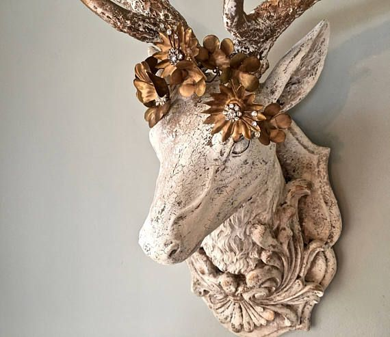 Wall Crown Decor deer wall mount faux taxidermy buck head plaque rhinestone crown