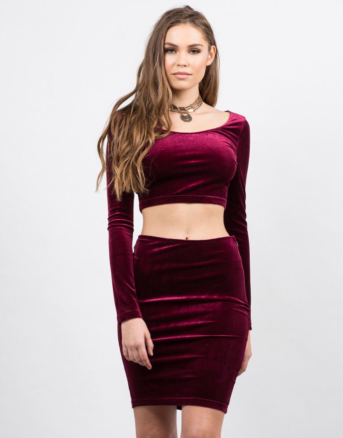 0fa24948f2c Velvet Bodycon Skirt - Pencil Skirt - Matching Sets – 2020AVE