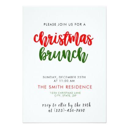 Christmas Holiday Brunch Invitation Card Rsvp Brunch Invitations