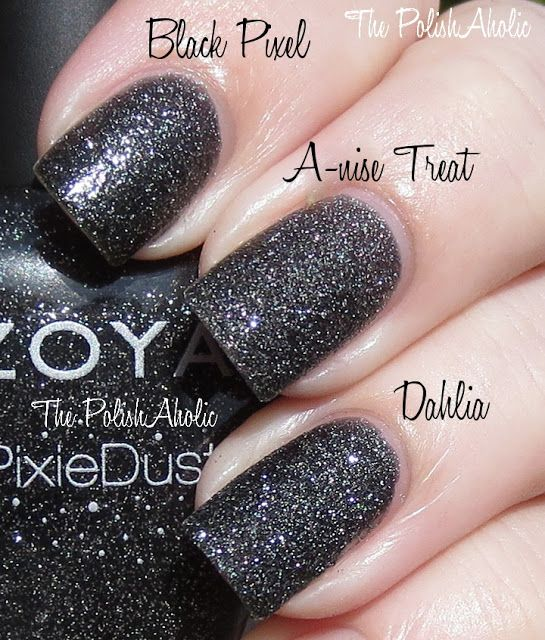 5f844e43b93a Textured Nail Polish Comparisons by ThePolishAholic  VERY Close Cousins!  Ha!   Orly-Black Pixel (MegaPixel FX Coll.) Vs. NOPI-A-Nise Treat Vs. Zoya-Dahlia  ...