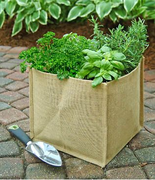 Portable Garden Burlap Planter Designed To Stay Rigid When Filled Collapsible For Storage During Off Season Water Resistant Coating Mimimize Mess