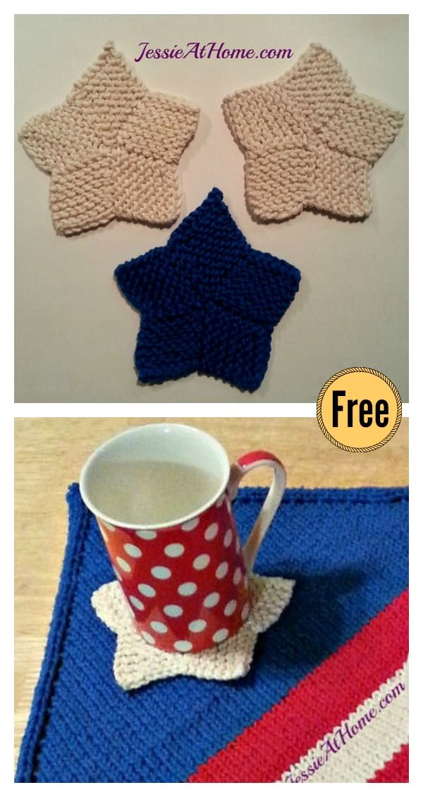 Star Coaster Free Knitting Pattern   Knitting patterns, Coasters and ...