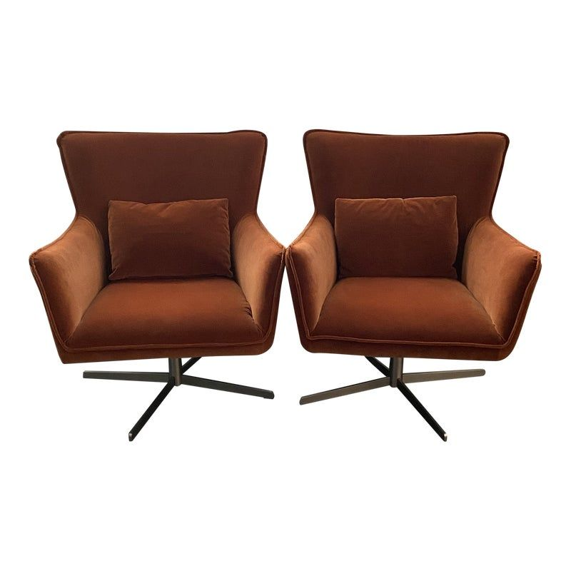 Jacob Swivel Chairs By Four Hands In Soft Velvet Sienna A Pair