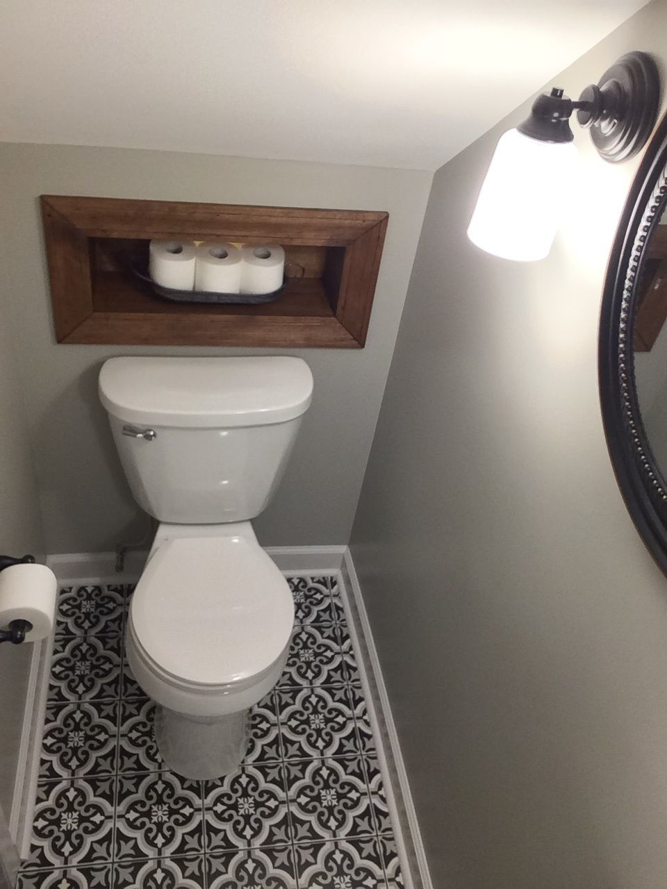half bath tucked under stairs bathroom remodel - Bathroom Designs Under Stairs