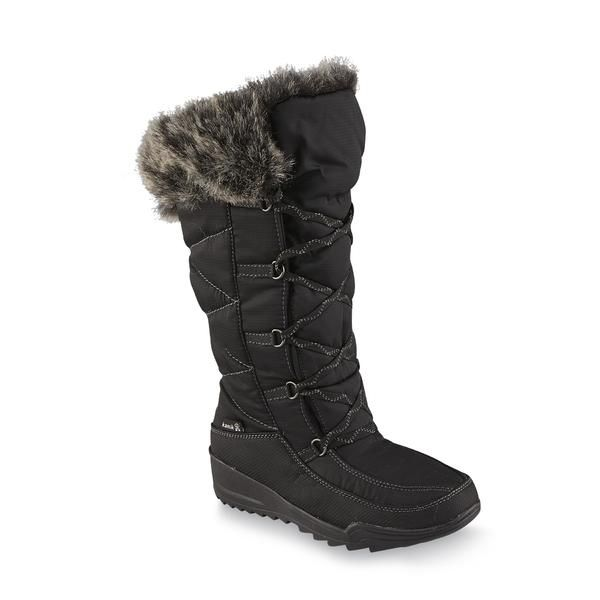 Kamik Women's Porto Black Faux Shearling Winter Snow Boot