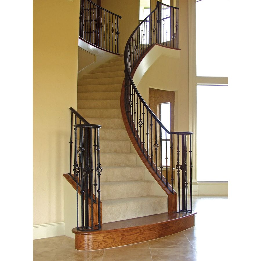 Best Shop House Of Forgings Solid 44 In Satin Black Wrought Iron Gothic Stair Baluster At Lowes Com 400 x 300