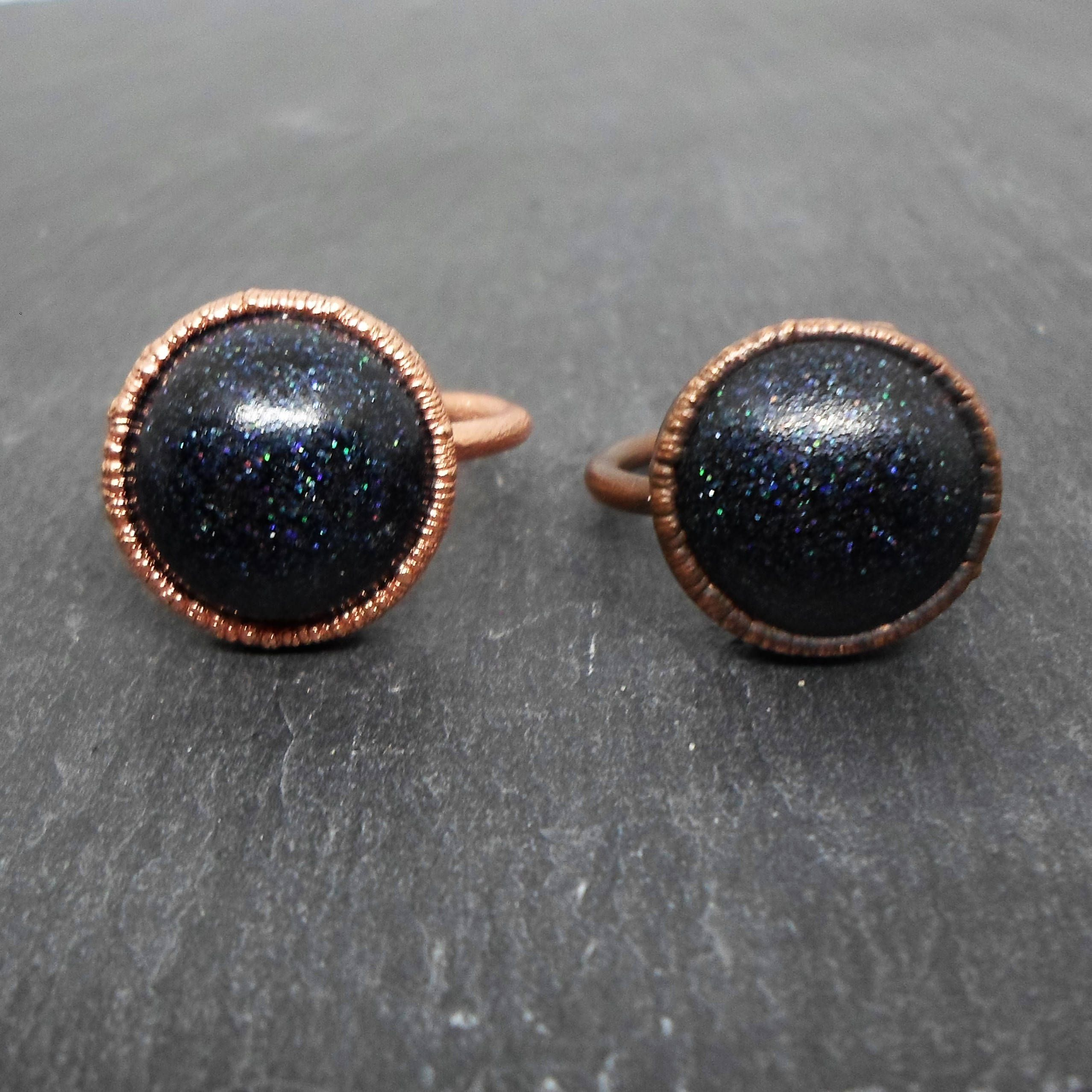 Black Holographic Glitter Resin Electroformed Rings witch boho