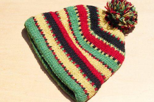 聖誕節禮物 限量一件 手織純羊毛帽 / 針織毛帽 / 內刷毛手織毛帽 / 毛線帽  (made in nepal) - 熱帶叢林民族圖騰