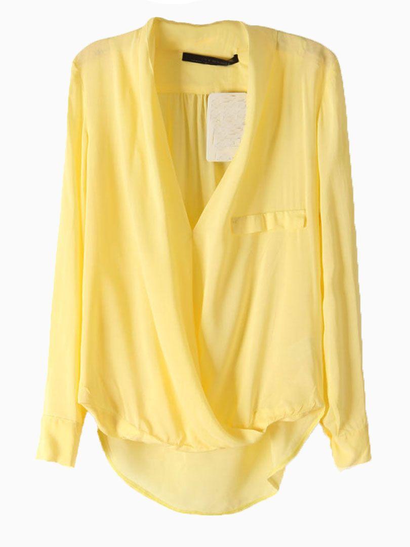 Yellow V-neck Blouse | Choies
