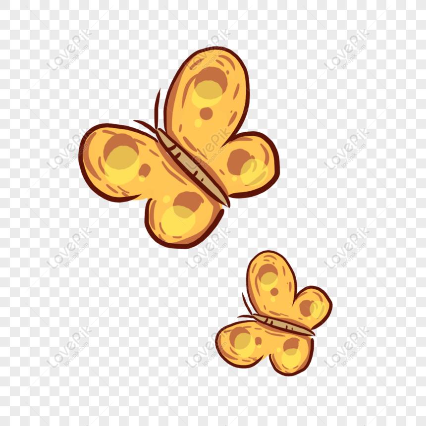 مرسومة باليد الكرتون اثنين من الفراشات الصفراء تحلق والرقص العنا Butterflies Flying How To Draw Hands Yellow Butterfly