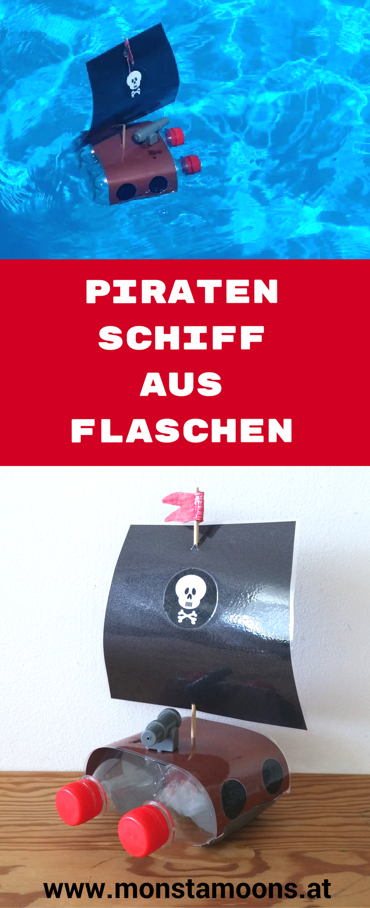 upcycling piratenschiff f r kinder basteln pet flaschen diy f r und mit kinder n. Black Bedroom Furniture Sets. Home Design Ideas