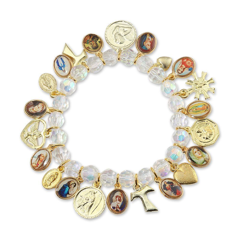 c445235aa2a Catholic Religious Crystal Stretch Beaded Bracelet with 21 Catholic Medals  and Charms. Bracelet with Catholic