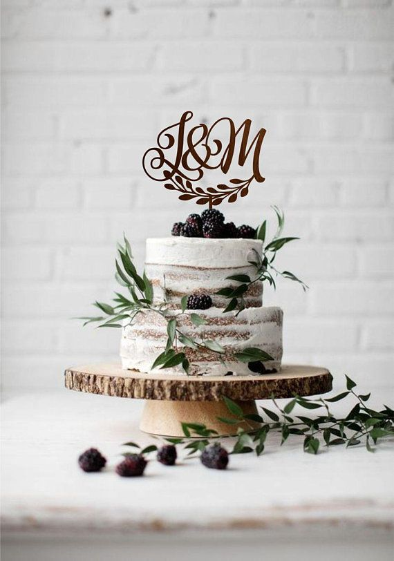 Two Letters Cake Topper Wedding Monogram Cake Topper Two Initial