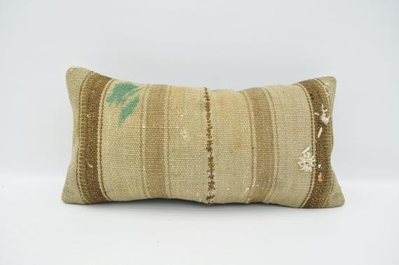"kilim pillow turkish kilim pillow oriental pillow, 12""x24"" beige striped decor pillow boho pillow  h"