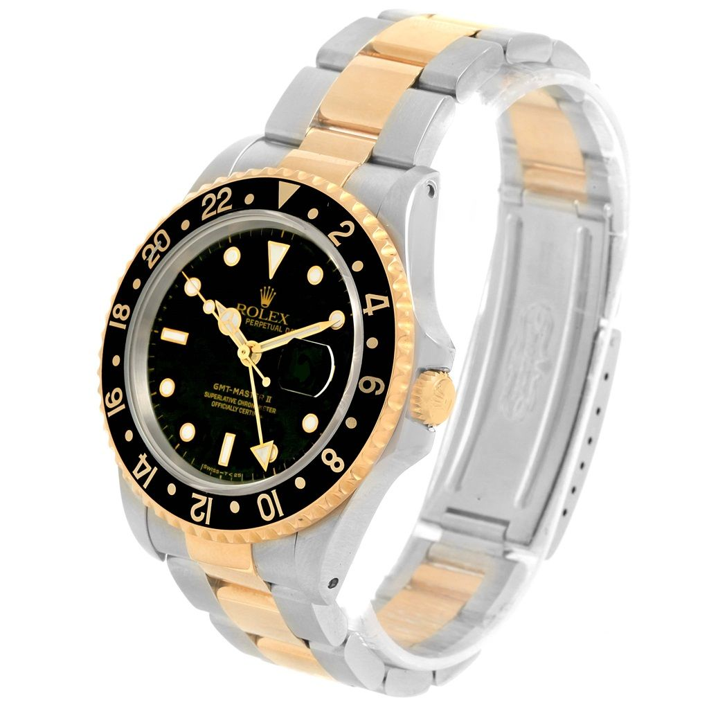 fdccfdc527e 16144 Rolex GMT Master II Yellow Gold Steel Oyster Bracelet Watch 16713  SwissWatchExpo