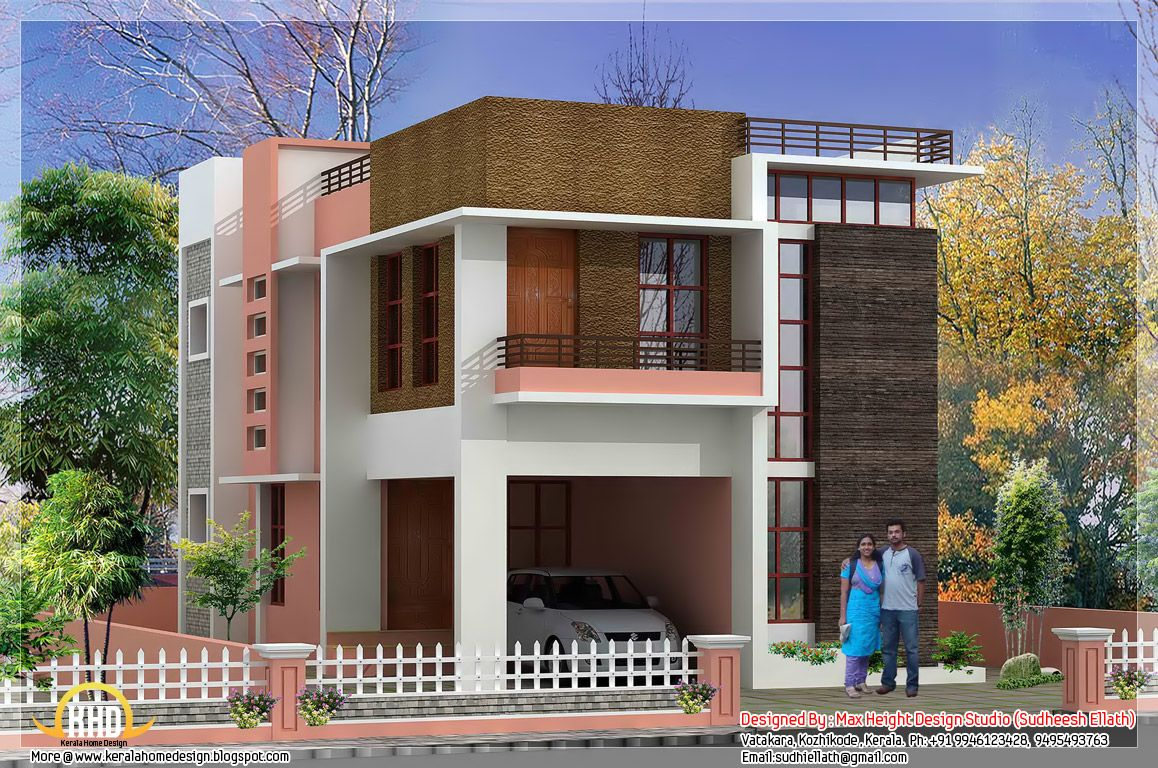 Square feet modern kerala home square feet bedroom for Elevation of kerala homes