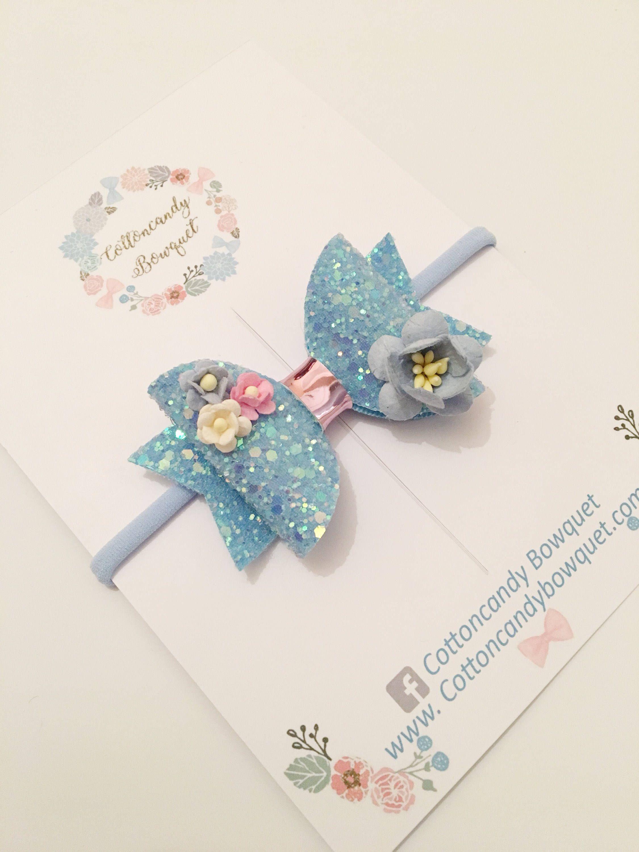 4845fce5a581c Blue glitter hair bow, baby hair bow, baby headbands, hair clips for ...