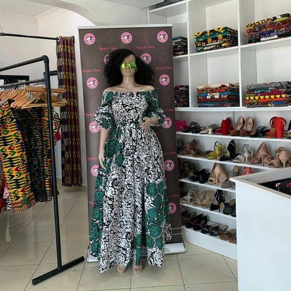 Ankara print flower dress / kitenge long flower dress/ Africa print wax wedding and party dress / Ankara wedding dress
