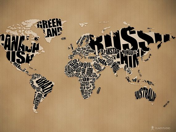 This world map is created and shaped by its own name. The letters construct the overall representation of the countries.  http://www.vladstudio.com/wallpaper/?typographic_world_map