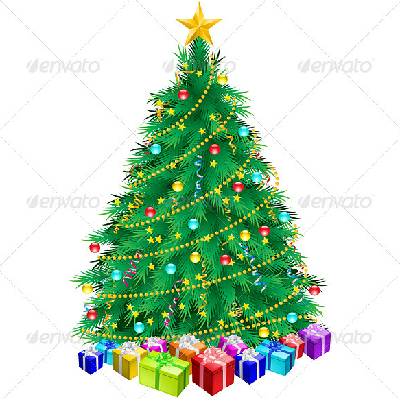 Christmas Tree And Gifts Objects Clip Art Icons Graphics Christmas Tree Design Christmas Tree With Gifts Cool Christmas Trees