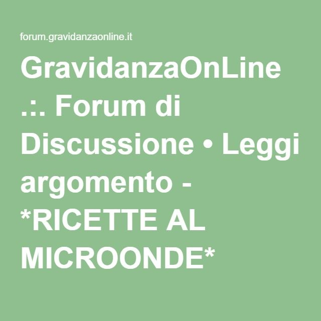 *RICETTE AL MICROONDE*