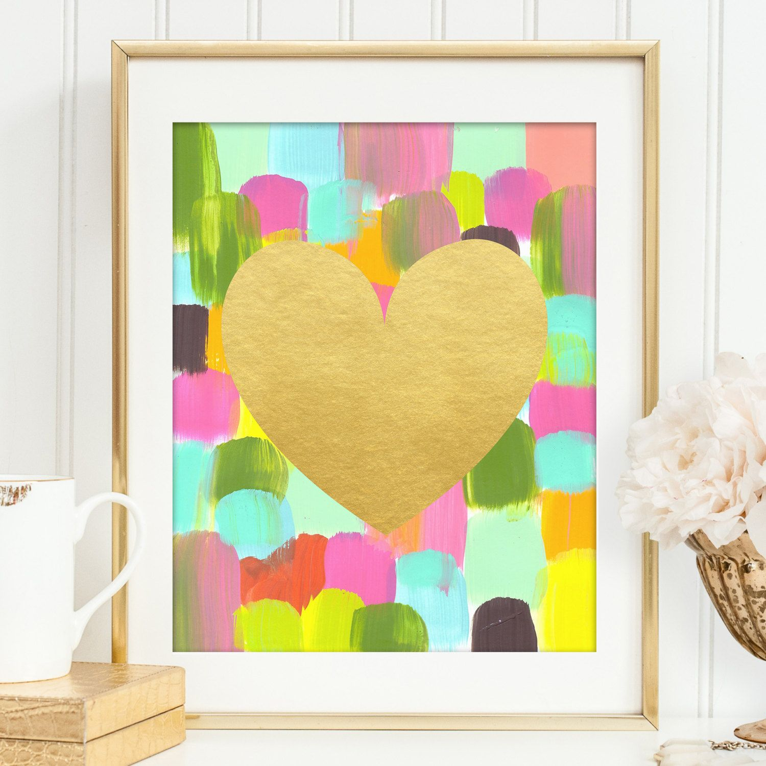 Printable art abstract heart gold foil print for modern wall decor ...