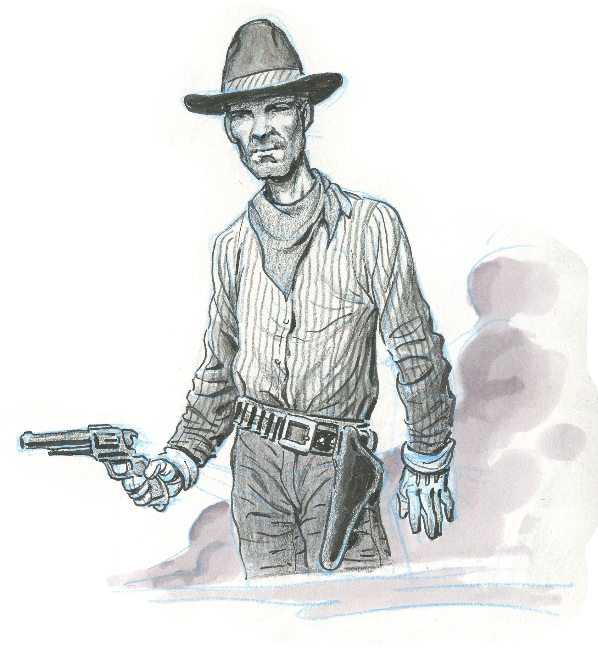 """Cyrus """"Toothpick"""" Scroggins ... he probably didn't weigh more'n 110 pounds, and barely spoke above a whisper when he was yellin', but he was damn good with a sixgun, so he never had no cause to raise his voice to any man. He just let his gun barrel do the talkin' ..."""