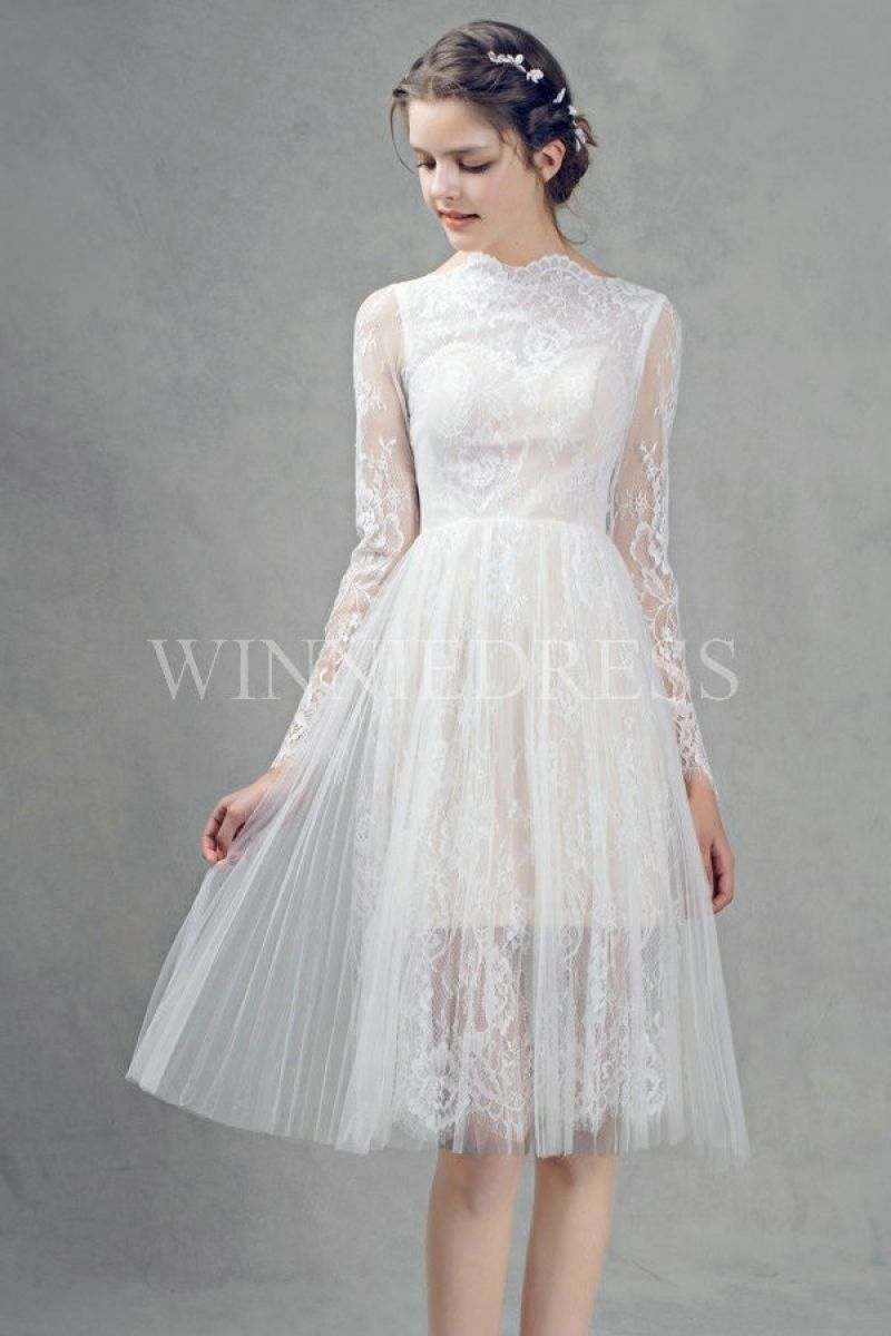 Simply long sleeve knee length wedding dress wedding dresses