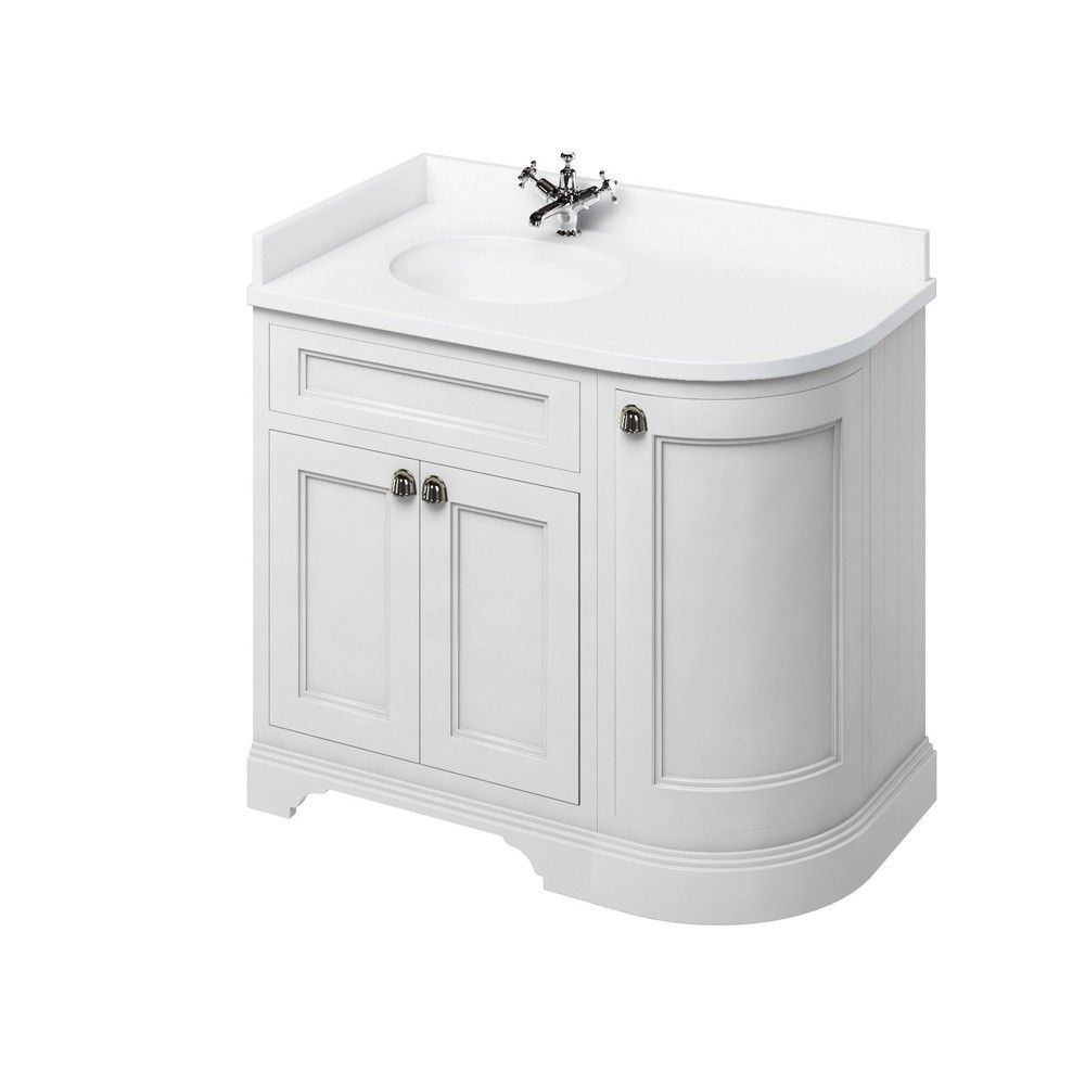 Image For Burlington Freestanding Corner White White Vanity Unit With Doors 100cm Left Hand Freestanding Vanity Unit Vanity Units Corner Vanity Unit
