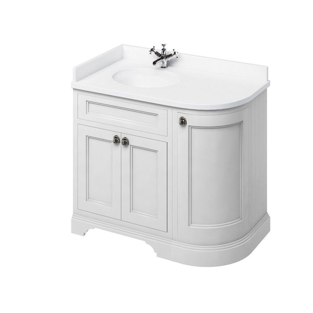 Image For Burlington Freestanding Corner White White Vanity Unit With Doors 100cm Left Hand Freestanding Vanity Unit Vanity Units Corner Vanity Unit