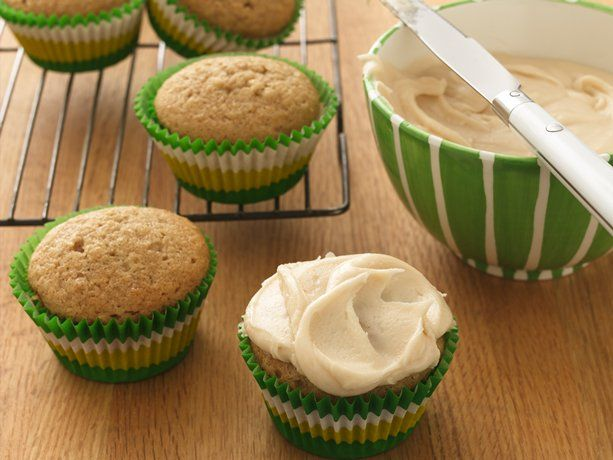 Applesauce cupcakes with brown butter frosting. ONLY 50 calories a piece...