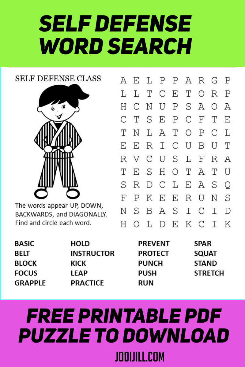 Self Defense Word Search Puzzle Kids Word Search Free Printable Word Searches Free Printable Puzzles [ 1200 x 800 Pixel ]