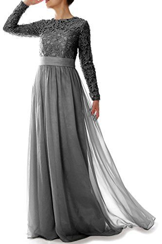 MACloth Women Long Sleeve Lace Chiffon Mother of Bride Dress Formal Evening  Gown Dark Navy >>> Find out more about the great product at the image link.