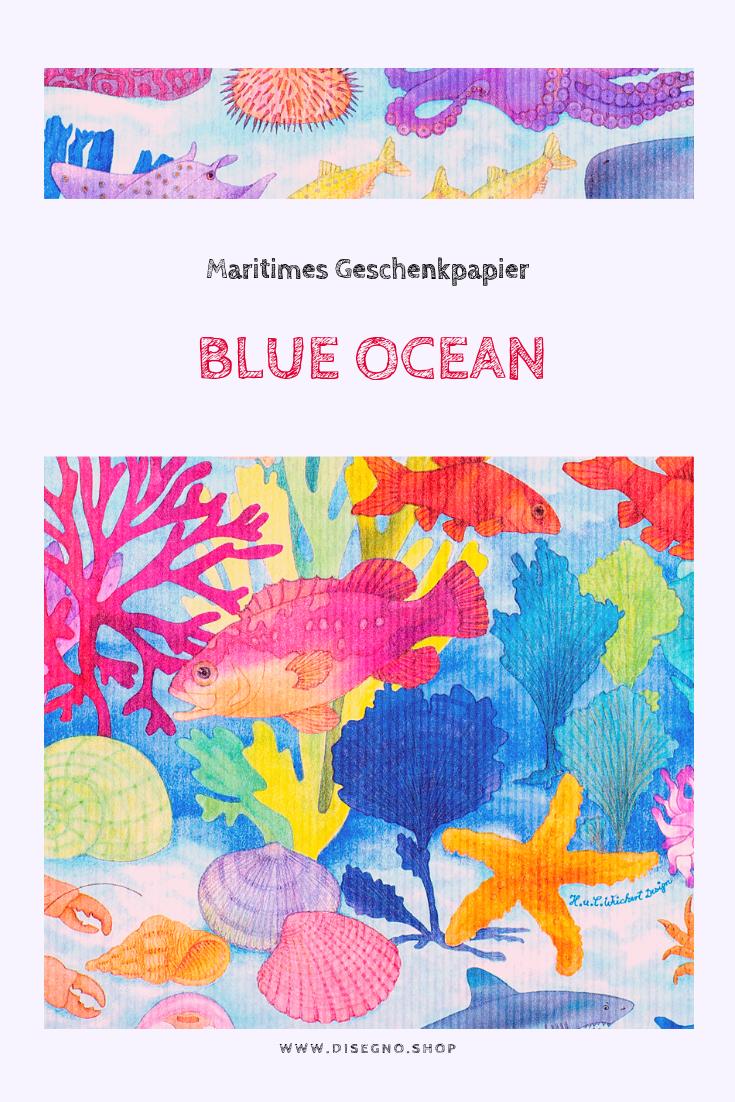 Geschenkpapier Verpackungspapier Blue OceanGeschenkpapier  Geburtstag Wei...