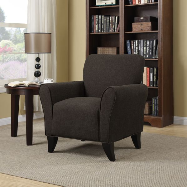 Portfolio Seth Chocolate Brown Linen Curved Back Arm Chair - Overstock Shopping - Great Deals on PORTFOLIO Living Room Chairs