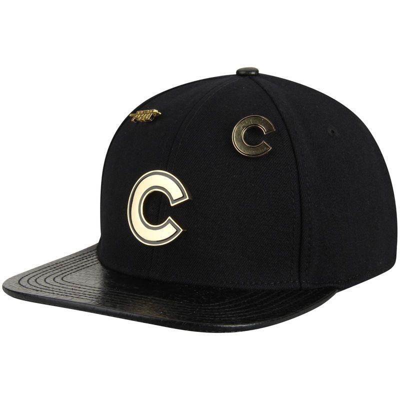 Chicago Cubs Pro Standard Metal Plate Logo Strapback Adjustable Hat - Black