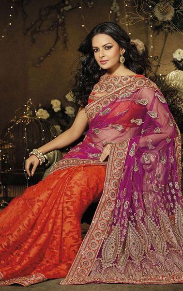 Orange and Pink Color Designer Fashion Saree with Blouse HSPDOT9005B - www.indianwardrobe.com
