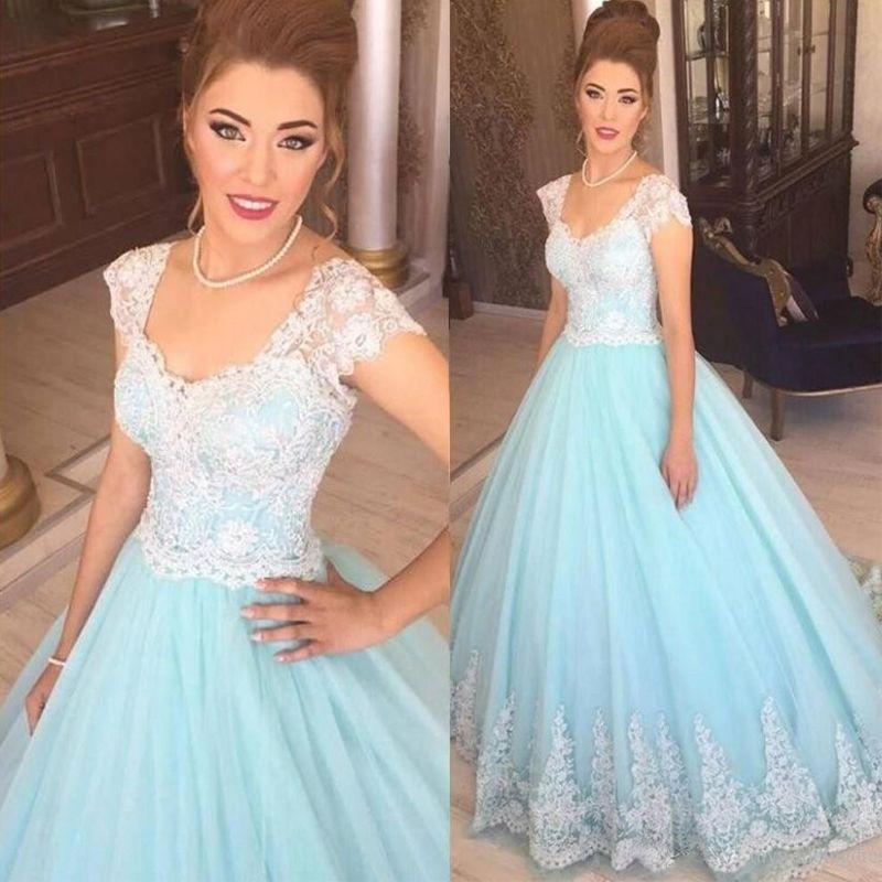 Elegant Princess Wedding Dresses 2017 Short Lace Cap Sleeve Bridal ...