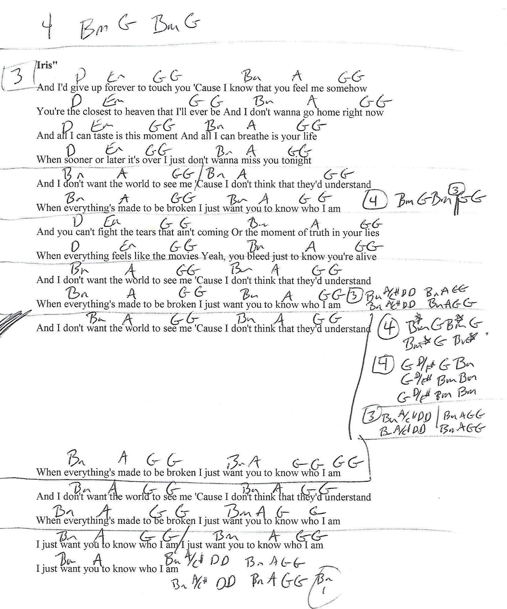 Iris Goo Goo Dolls Guitar Lesson Chord Chart With Lyrics Chords
