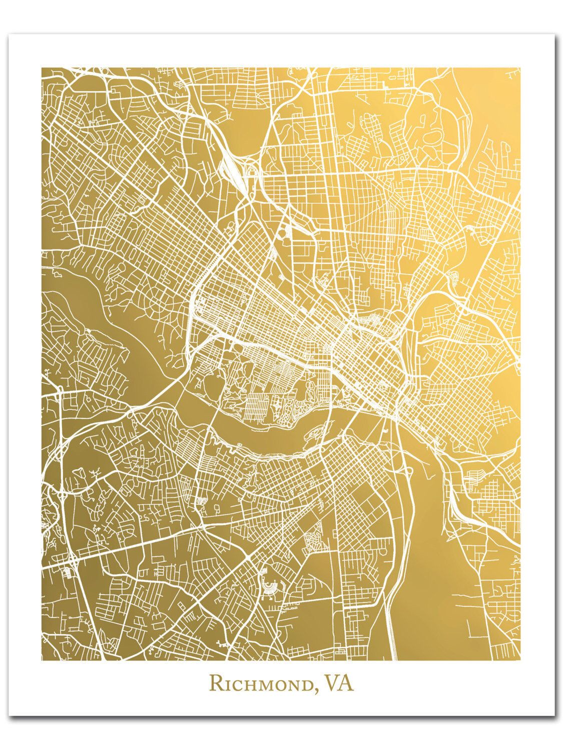 Richmond Map, Map of Richmond Virginia, Gold Print, Real Gold Foil ...