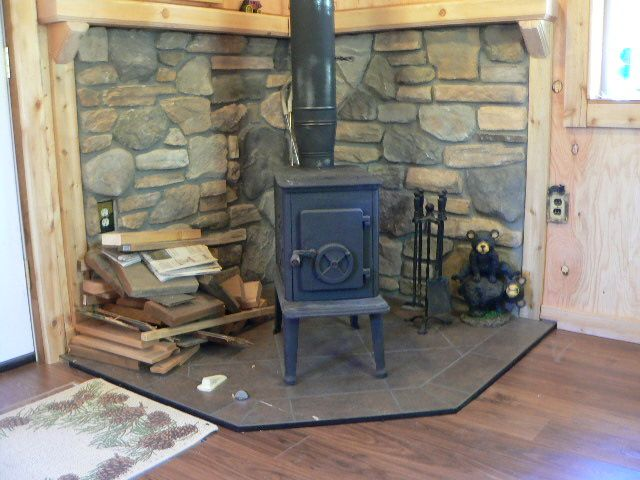 Flooring Is Done Small Cabin Forum Wood Stove Fireplace Wood Burning Stove Corner Corner Wood Stove