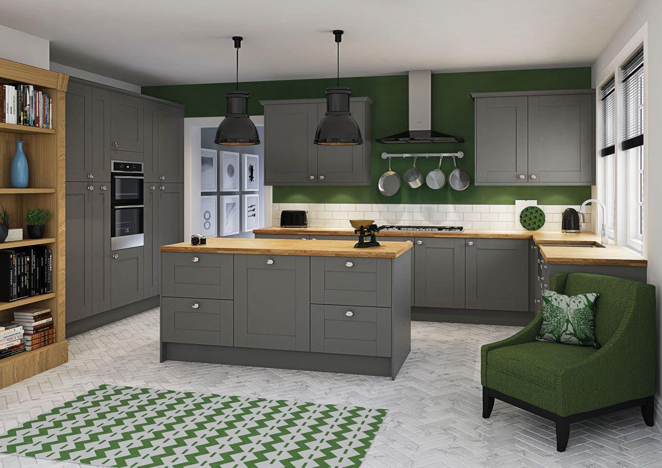 winchester grey traditional woodgrain shaker grey kitchen oak worktop kitchen design on kitchen interior grey wood id=94142
