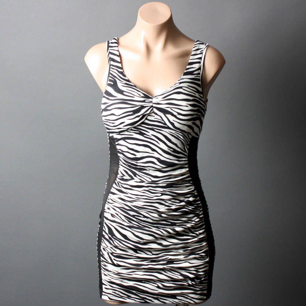 Black and white zebra mini dress