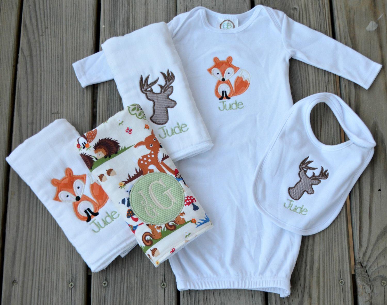 Full Baby Boy Monogrammed and Appliquéd Gift Set: 3 Burp Cloths ...