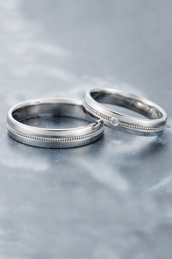 White Gold Wedding Bands With Milgrain Details Matching Wedding Bands Couple Rings Milgrain Diamond Bands Wedding Rings Sets In 2020 Couple Wedding Rings Antique Wedding Rings Engagement Rings Couple