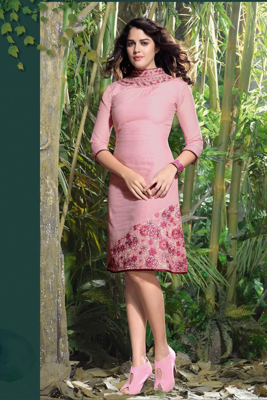 Pink Linen Kurti with Embroidered - Z1914P123-16