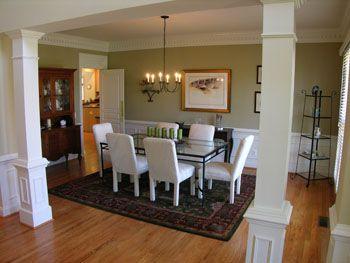Kitchen Dining Room Pillars Dining Room With Hardwood Flooring