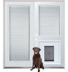 Good Patio French Back Doors With Internal Mini Blinds And Pet Doggy Door Insert  Pre