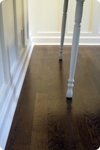 Jacobean stain on oak know some don t use quarter round for Hardwood floors quarter round
